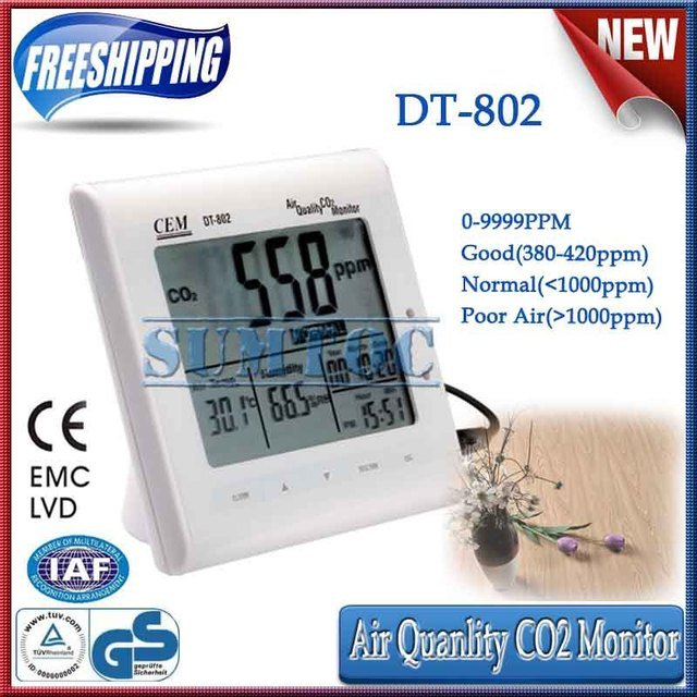 Free shipping!High Quality Desktop Indoor Air Quality CO2 Monitor CEM DT-802