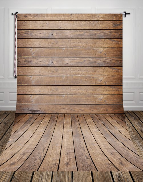 HUAYI Wood Planks Backdrop Vintage Brown Wood Floor Art Fabric Newborn Backdrop D-8058