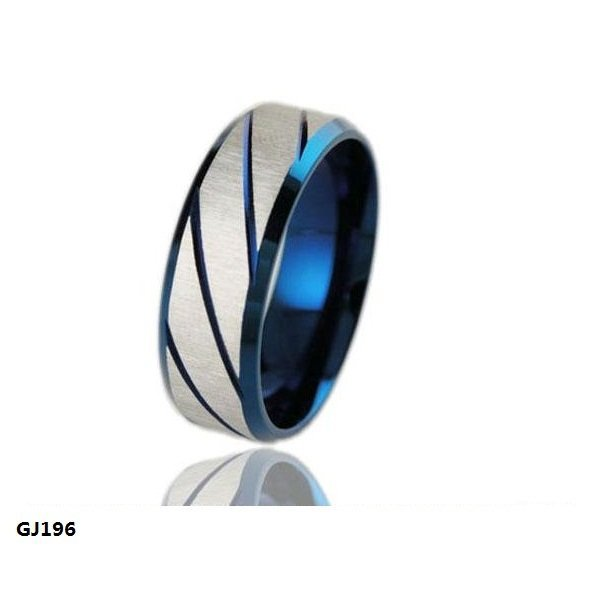 Superman  Fashion Jewelry 316L Stainless Steel Rings Silver Blue Twill Dull Polish Couple Rings Wedding Rings Engagement Rings