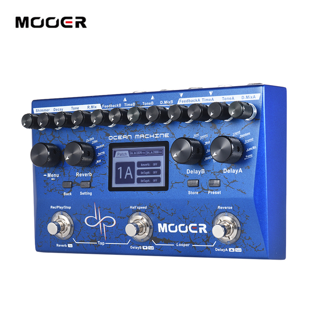 MOOER OCEAN MACHINE Premium Dual Delay + Reverb + Looper Multi-effects Pedal  9 Reverb Effects 44s Recording Time Tap Tempo