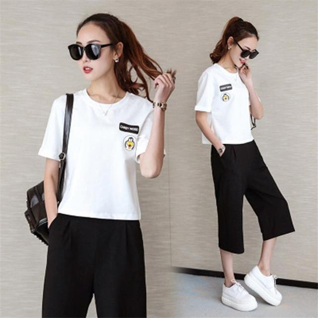 2017 new fashion Spring summer women tracksuit for women Slim thin print short sleeves pants suit