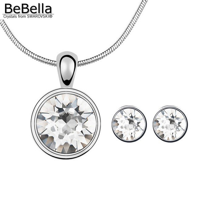 BeBella round stone pendant necklace stud earrings set with Austrian crystals from Swarovski for 2018 girls Christmas gift