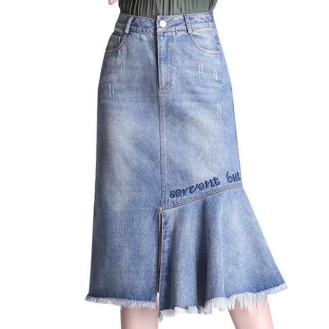 plus size 2XL 2018 Women fashion Washed Denim Skirt Elegant high waist Letter Embroidery package hip Skirt trumpet meimard Skirt