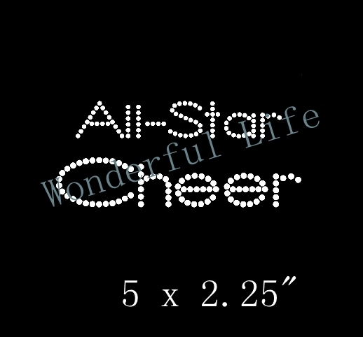 Free shipping  all star cheer iron on rhinestone transfer love hear with ribbon for clothing  motif design