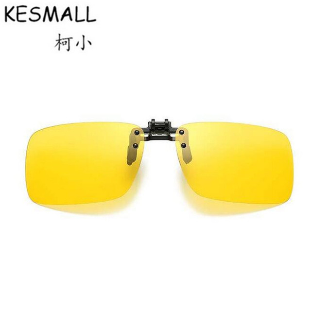 KESMALL Summer Polarized Clip On Sunglasses Women Man Yellow Night Vision Driving Lens Sun Glasses Anti-UV Lentes De Sol YL396