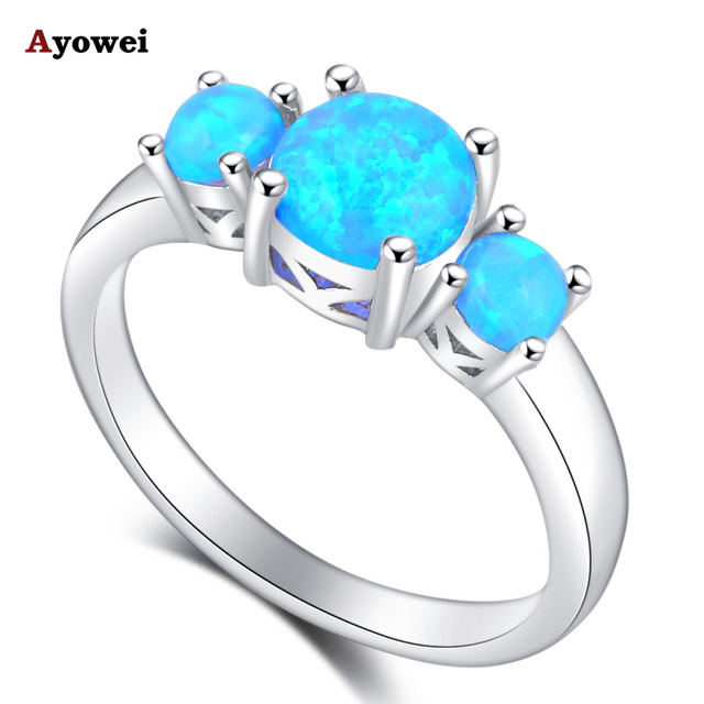 Ayowei Birthday Gifts for Girlfriend Classic Blue Fire Opal Silver Stamped Rings Fashion Jewelry USA Sz#5#6#7#8#9#10 OR856A