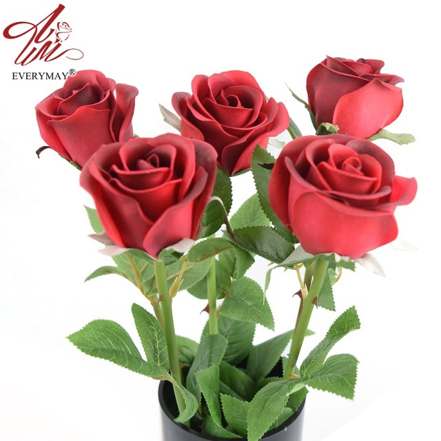 Hot Sale PU Latex Rose 24.8'' Real Touch Feel Artificial Flowers Wedding Decoration 5 Pcs/lot Home Decoration Flores Artificiais