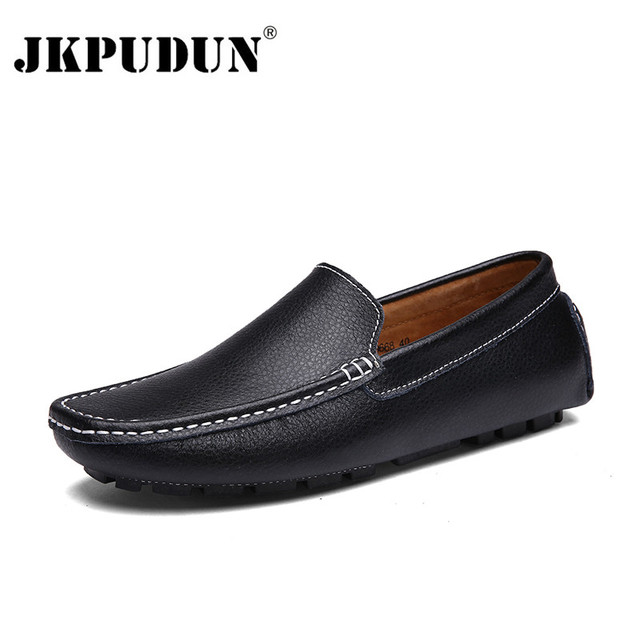 JKPUDUN Genuine Leather Men Casual Shoes Black Moccasins Mens Loafers High Quality Fashion Brand Men Flats Comfy Driving Shoes