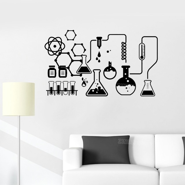 Scientist Chemistry School Sticker Science Chemical Lab Vinyl Wall Stickers Kids Removable Wall Decals Home Decor Bedroom S515