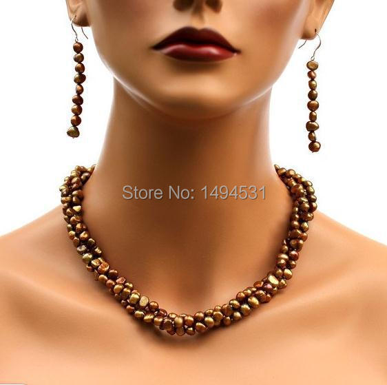 Wholesale Pearl Jewelry - Brown 3Strands Baroque Genuine Freshwater Pearl Necklace Earrings Bridesmaids Wedding Jewelry Set.