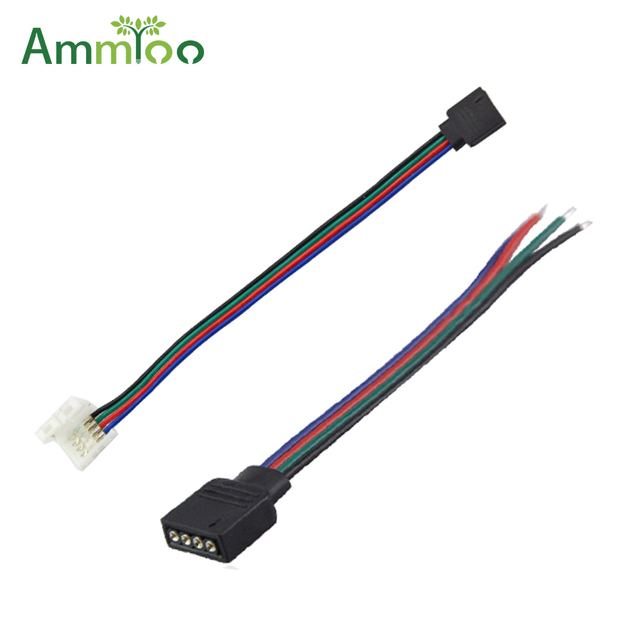AmmToo 5Pcs 4Pin RGB Led Strip Wire Cable No Soldering Connect For RGB 5050 3528 Led Tape Ribbon Lamp Accessories