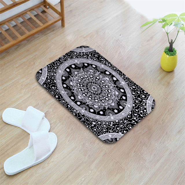 Waterproof Floor Door Mats Flannel Mandala Lotus Floral Rugs Anti-slip 40*60cm Bedroom Bedside Foot Pads Carpet In The Hallway