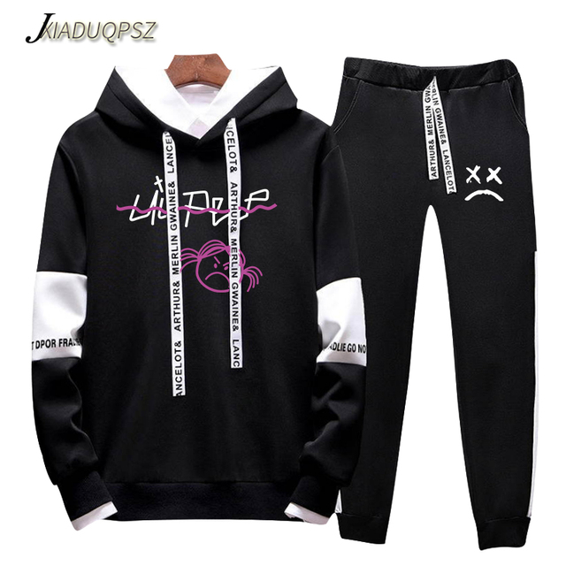2018 Autumn/Winter Love lil.peep Hip Hop Hoodies Sweatshirts And Sweatpants Men Two Piece Set Streetwear Hooded Suit Velvet
