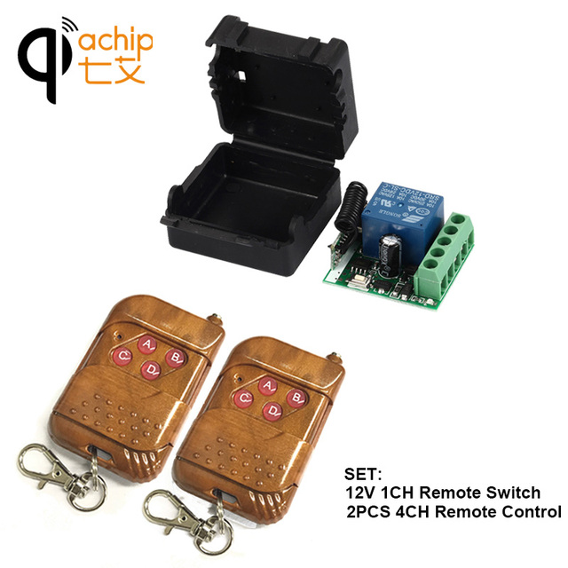 433Mhz Universal Wireless RF Remote Control Switch DC 12V 10A 1CH relay Receiver Module and 433.92 Mhz 2PCS 4CH Remote Controls