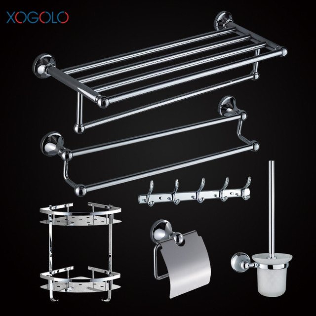 Xogolo Stainless Steel Chrome Wall Mounted Bath Hardware Sets Paper Towel Holder Rack Bathroom Shelf Accessories