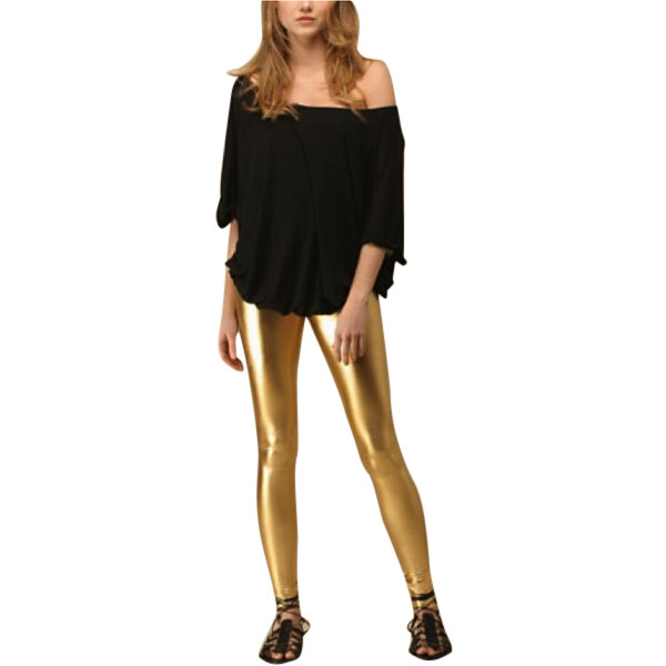 Sexy Lady Faux Leather Slim Leggings Pants Women Skinny Shiny Gold Leggings