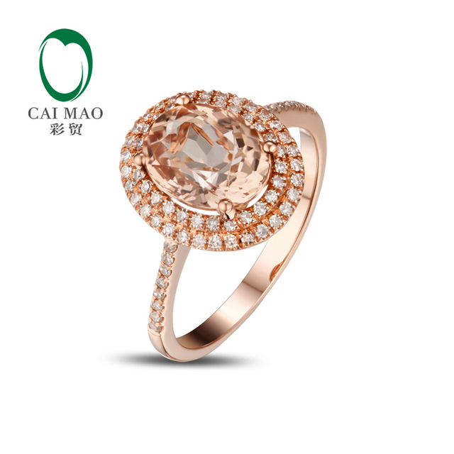 2.20ct VS 7x9mm Oval Morganite Pave Diamond Real 14k Rose Gold Engagement Ring