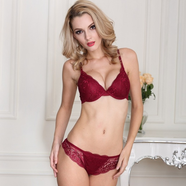 Free shipping Sexy Women Bra Set Deep V Lace Decro Underwire Bras Push Up Solid 70A-85C Lingerie Outfit