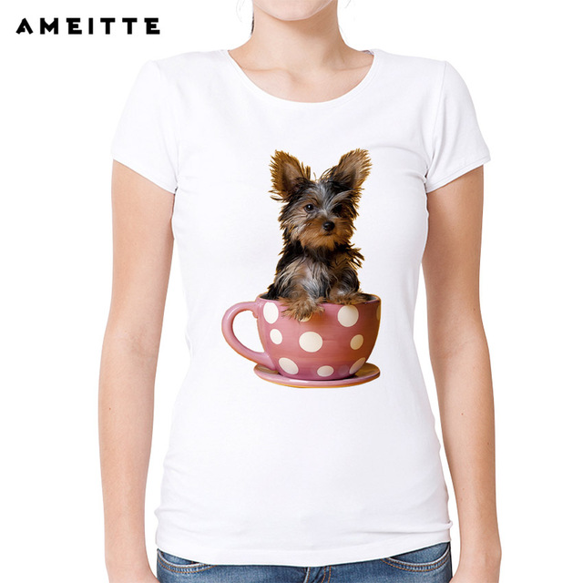 AMEITTE Fashion Yorkshire Terrier Teacup Print T-Shirt Women Cute Miniature T Shirt Summer Hipster Female Tees Lovely Girl Tops