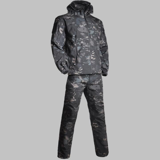 TAD Men Lurker Shark Skin Soft Shell  Military Tactical Jacket + Pants Waterproof Windproof Hunting Camouflage Clothes