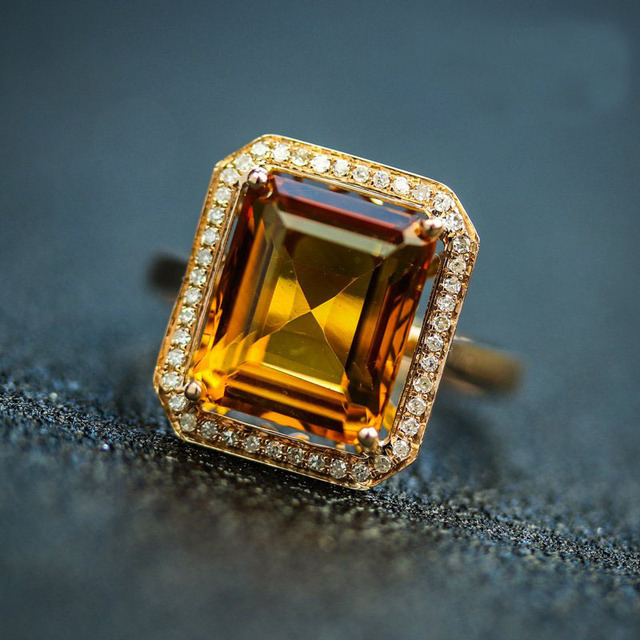 6-10 CARAT NATURAL Gemstone Citrine ring 18K Rose Gold Excelent Cut Engagement ring Fine Jewelry diamond ring Crystal