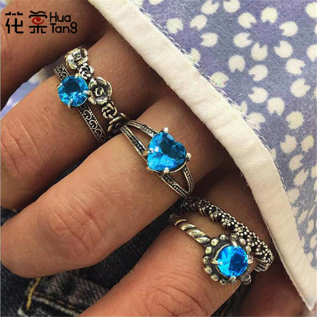 HuaTang  Blue Rhinestone Heart Rings Set for Women Geometric Hollow Flower Carving Rings Knuckle Anillos Jewelry 5pcs/set 6082