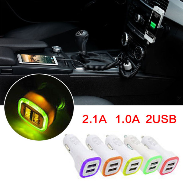 2.1A 1.0A 5W LED Dual USB 2 Ports Charging Socket For Smart Phone[