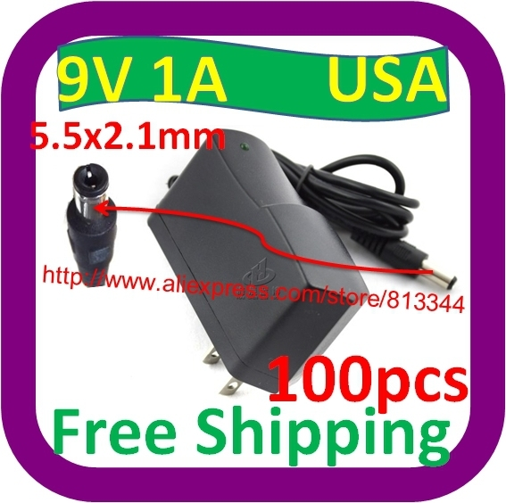 100 pcs 100V-240V AC to DC charger US Plug 9V 1A switch Power Supply Adapter US  5.5MM*2.1MM