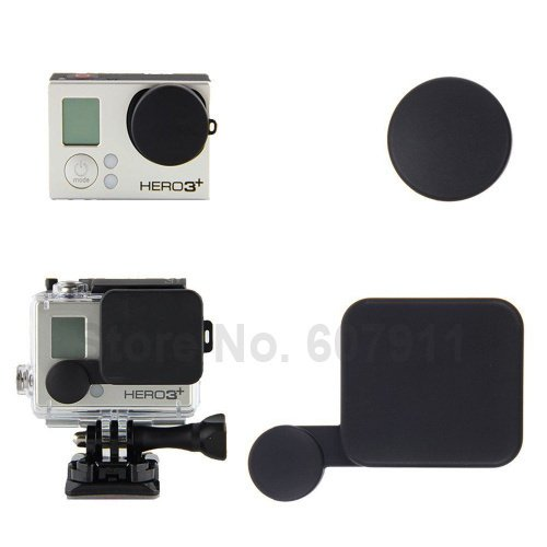 2 in 1 Gopro Accessories Black Protective Camera Lens Cap Cover Compatible + Housing Case Cover For Gopro HD Hero 4 3+