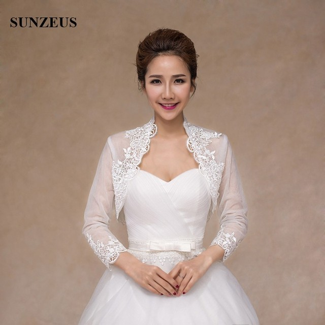 Long Sleeve Bridal Jacket Ivory Tulle Wedding Bolero With Appliques Red Lace Women Cape Etole Mariage PJ004