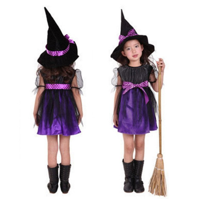 3-15Y baby girl Witch Toddler Girl Halloween Fancy Dress Party Costume Outfit Clothes + HAT bebe sunsuit Set dresses T#