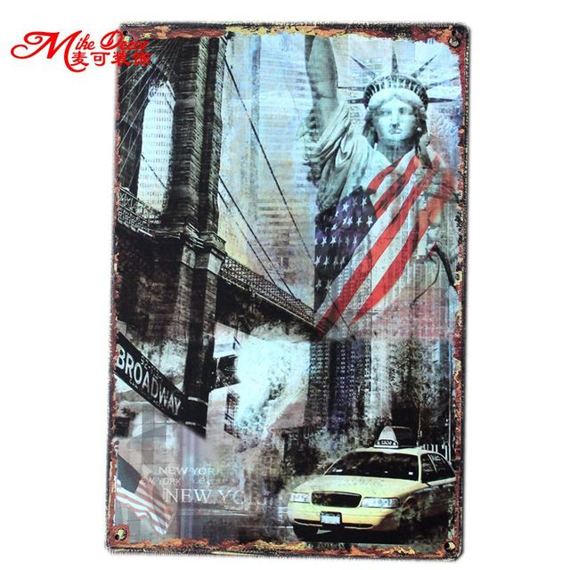 [ Mike86 ] New York Metal signs retro Art  wall decor House Cafe Restaurant Vintage iron Paintings B-83 Mix order 20*30 CM