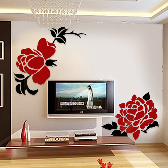 Crystal three-dimensional wall stickers rose wedding gift home sofa  wall mirror stickers 2 rose in 1 set