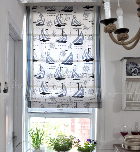 2015 Included Curtains New Arrival Thickening Boat Roman Shutter Double Layer Shade Blinds The Finished Curtain free Shipping