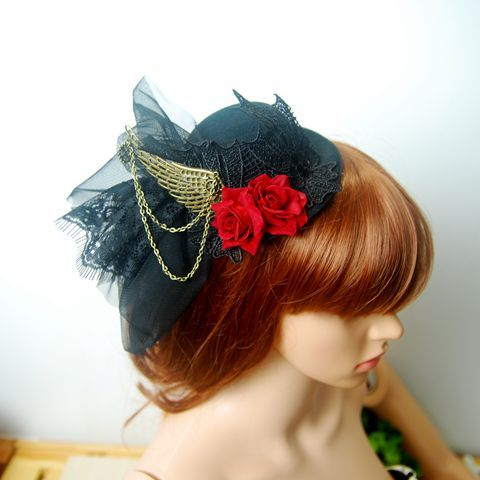 Women's Handmade Flower Rose Lace Veil Hat Wedding Mini Top Hats with Chains Wing Fascinators Steampunk Hair Clip Accessory