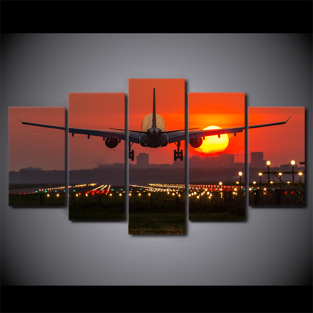 5 Piece HD Printed Airplane Red Sunset Framed Wall Picture Art Poster Painting On Canvas For Living Room Espejos Decorativo