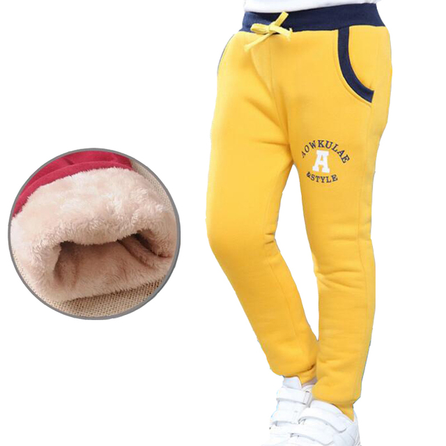 Children's warm trousers new boy and girl winter velvet thickening leisure pants for kids letters sport trousers cotton unisex