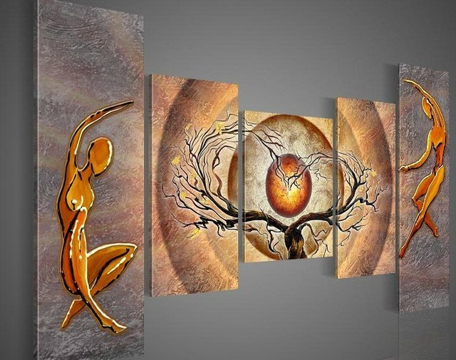 hand-painted  wall art Orange trees dancing  home decoration abstract  Landscape oil painting on canvas 5pcs/set wood framed