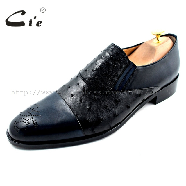 cie Free Shipping Mackay Craft Handmade Boats Slip-on Men's Ostrich/Calfskin Outsole Breathable Black/Navy shoe No.Loafer 22