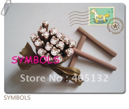 e-20 Free Shipping 100pcs 5mm Cute Monkey Polymer Clay Cane Fancy Nail Art  Polymer Clay Cane