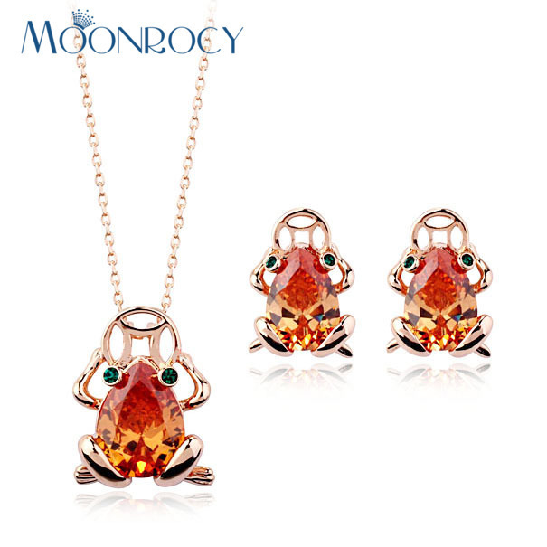 MOONROCY Free Shipping Fashion Cubic Zirconia Crystal Necklace and Earrings Set Rose Gold Color Jewelry Set For women Gift