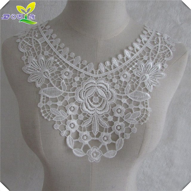 Fashion all-match DIY handmade white gauze embroidery sewing lace collar garment accessories