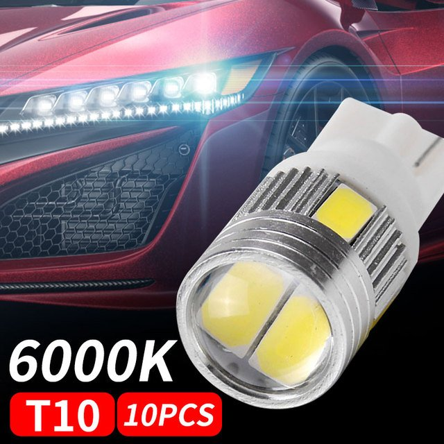 10pcs T10 W5W Parking Tail Car Dashboard Light Durable Rear Car Side Light Bright Auto Car Wedge Light Car Interior