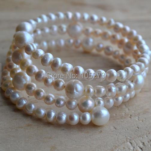 New Arriver White Pearl Bracelet 3 Rows 5-8mm Freshwater Pearl Bracelet Wedding Party Bridesmaids Jewelry Free Shipping