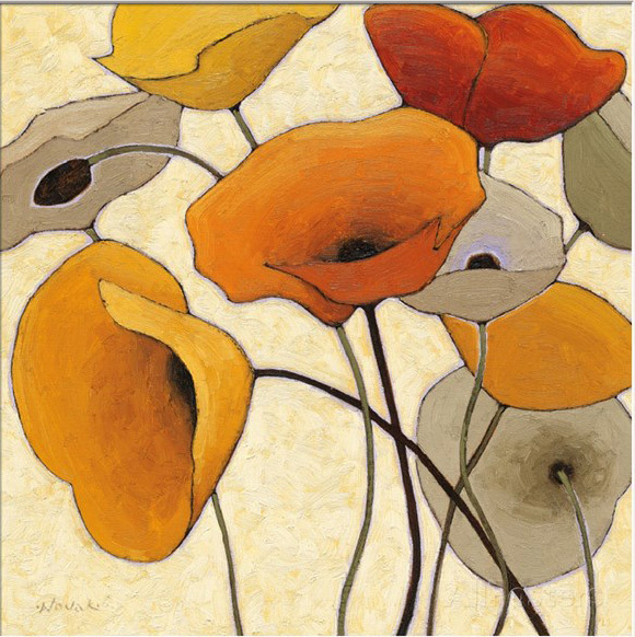 Modern oil painting flower Pumpkin Poppies by Shirley Novak Painting canvas High quality hand painted abstract Art