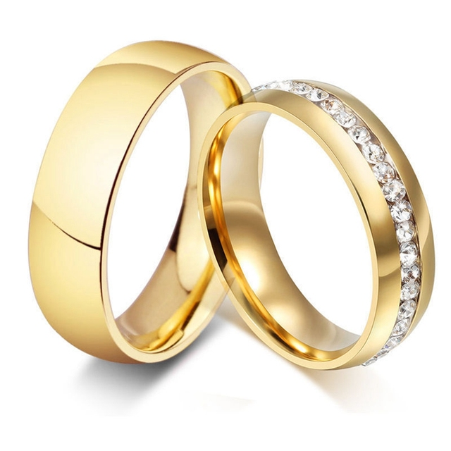 50pcs Mix lot Golden Comfort fit Band Rings Rhinestone Zircon Crystal Stainless Steel CZ Wedding Rings Wholesale Jewelry