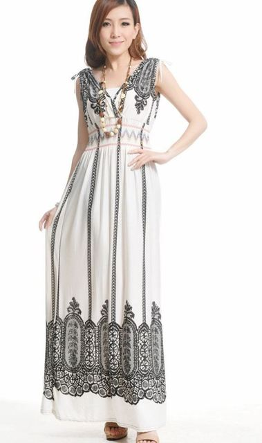 New Long Summer Novelty Fashion Dress with V-neck and Elegant Print in Novelty Fashion Style