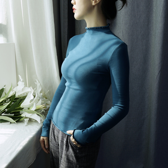 Early spring semi-high collar tight bottom shirt female long-sleeved  pure cotton fungus collar in the top of the fashion