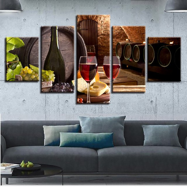 Canvas Painting Framework HD Print Poster 5 Pieces Grape Red Wine Glasses Oak Barrel Pictures Kitchen Wall Art  Cellar Decor