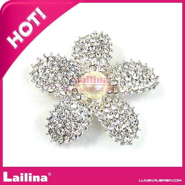 Hot new style pearl wedding bridal flower full crystal rhinestone brooches for wedding invitation and dress